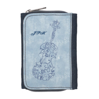 Blue Violin Line Drawing Customizable Wallets