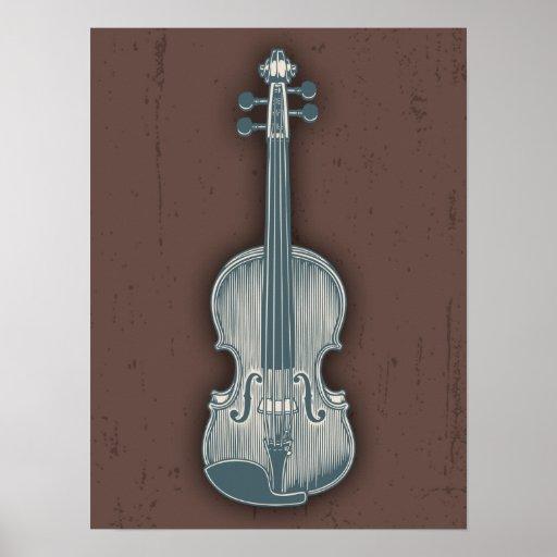 Blue Violin Print