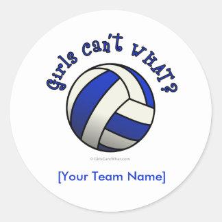 Blue Volleyball Classic Round Sticker