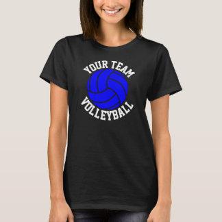Blue Volleyball Custom Team Name Women's Black Tee