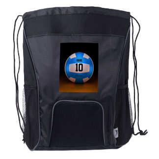 Blue Volleyball Drawstring Backpack