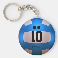 Blue Volleyball Keychain at Zazzle