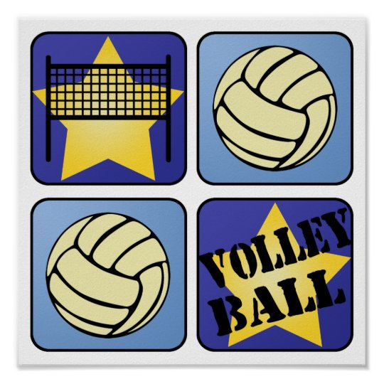 Blue Volleyball Poster