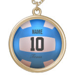 Blue Volleyball Round Pendant Necklace