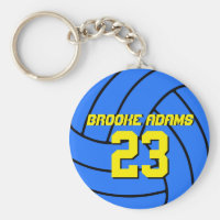 Blue Volleyball Sports Team Keychain