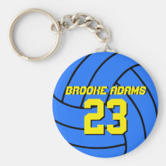 Blue Volleyball Sports Team Keychain at Zazzle