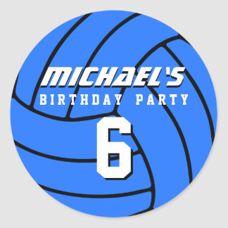 Blue Volleyball Sticker Sports kids Birthday Party