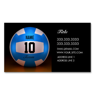 Blue Volleyball Magnetic Business Cards (Pack Of 25)