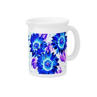 Blue Wacky Sunflowers Beverage Pitcher