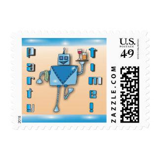 Blue Waiter Robot Postage Stamps