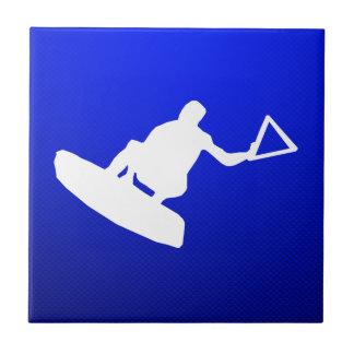 Blue Wakeboarder Ceramic Tile