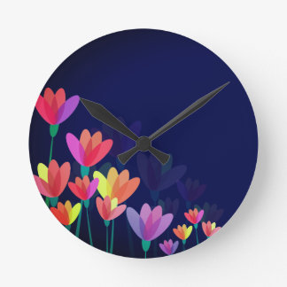 Blue wall clock with colourful flowers