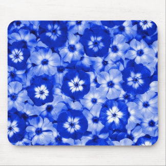Blue Wall Flowers Mouse Pad