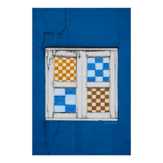 Blue Wall with Window Poster