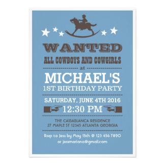 Blue Wanted Western Cowboy Birthday Invitation