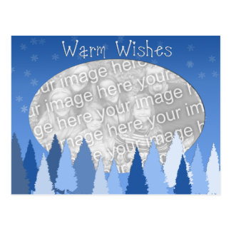Blue Warm Wishes Template Postcard