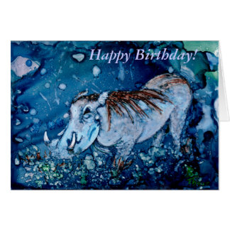 Blue Warthog Greeting Card
