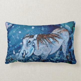 Blue Warthog Throw Pillow