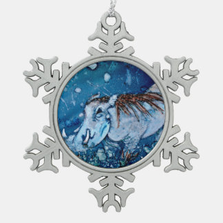 Blue Warthog Snowflake Pewter Christmas Ornament