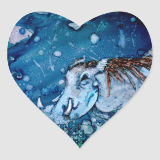 Blue Warthog Heart Stickers