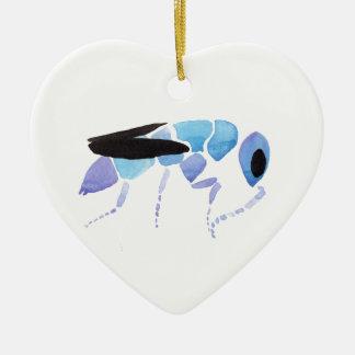 Blue Wasp Ceramic Ornament