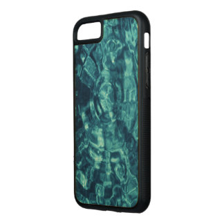 Blue Water Abstract on Natural Wood Carved iPhone 7 Case