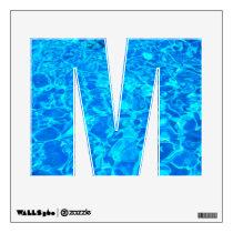 blue water alphabet wall decal