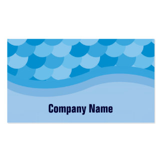 Blue Water and Fish Scale Pattern Landscape Business Card