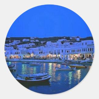 blue water beach classic round sticker