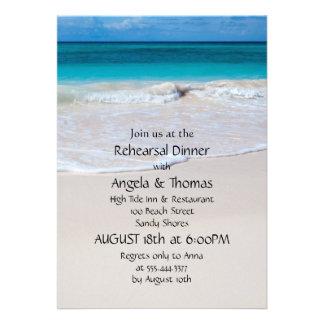 Blue Water Beach Sand Rehearsal Dinner Invitations