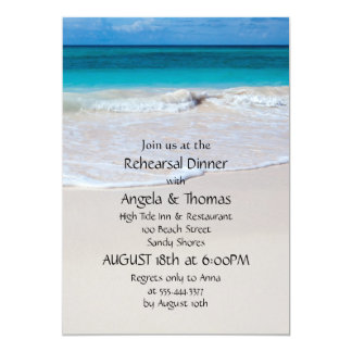 Blue Water Beach Sand Rehearsal Dinner Invitations