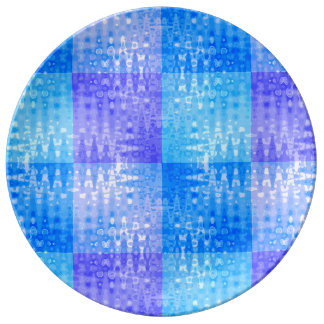 Blue Water Color Organic Checkerboard Pattern Art Dinner Plate