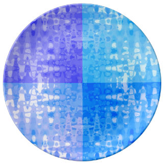 Blue Water Color Organic Zigzag Bubble Pattern Art Dinner Plate