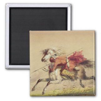 Blue Water Creek Battle By Alfred Jacob Miller 2 Inch Square Magnet