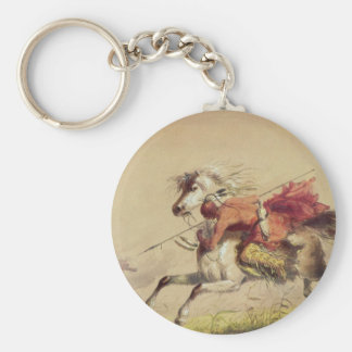 Blue Water Creek Battle By Alfred Jacob Miller Keychain