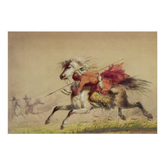 Blue Water Creek Battle By Alfred Jacob Miller Poster