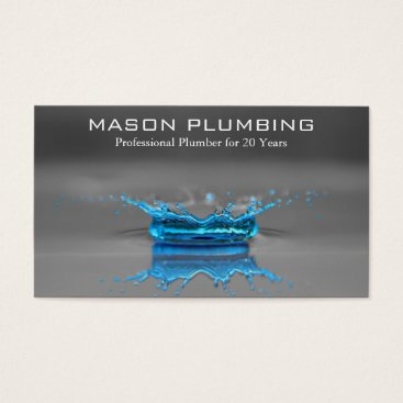 Professional Business Blue Water Drop Splash - Plumbing - Business Card