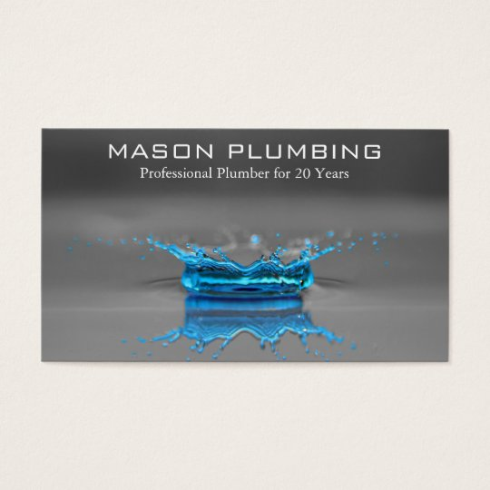 blue water drop splash plumbing business card. Black Bedroom Furniture Sets. Home Design Ideas