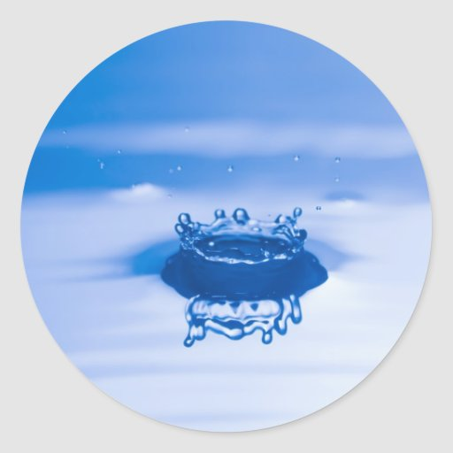 Blue Water Droplet (3) Classic Round Sticker
