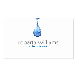 Blue Water Droplet Logo Double-Sided Standard Business Cards (Pack Of 100)