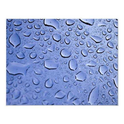 Blue Water Droplets 4.25x5.5 Paper Invitation Card