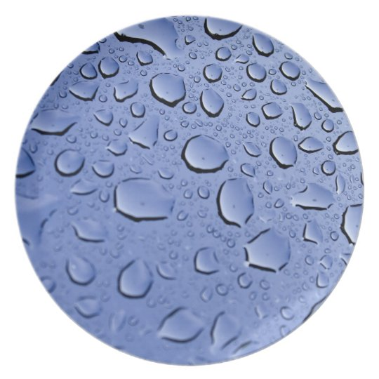 Blue Water Droplets Dinner Plate