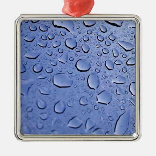 Blue Water Droplets Metal Ornament