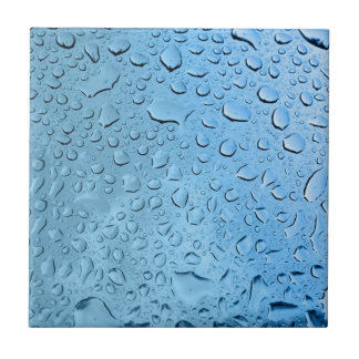 Blue Water Droplets Small Square Tile
