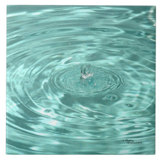 Blue water drops ripples Tile