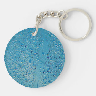 Blue water drops round acrylic keychain
