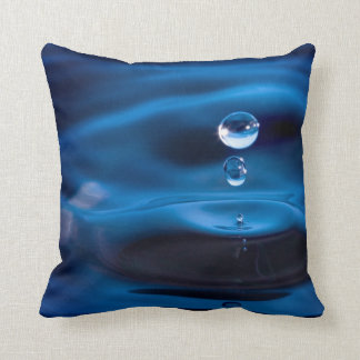 Blue Water Drops Throw Pillow