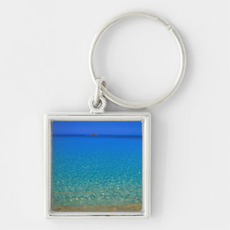 Blue water, Exuma Islands, Bahamas. Silver-Colored Square Keychain