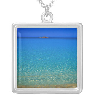 Blue water, Exuma Islands, Bahamas. Silver Plated Necklace
