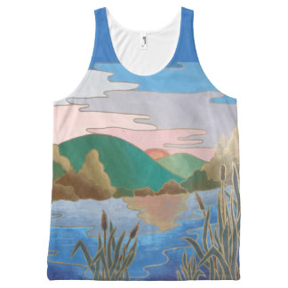 Blue water landscape abstract contemporary art All-Over print tank top